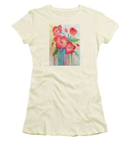 Poppies Women's T-Shirt (Junior Cut) by Christine Lathrop