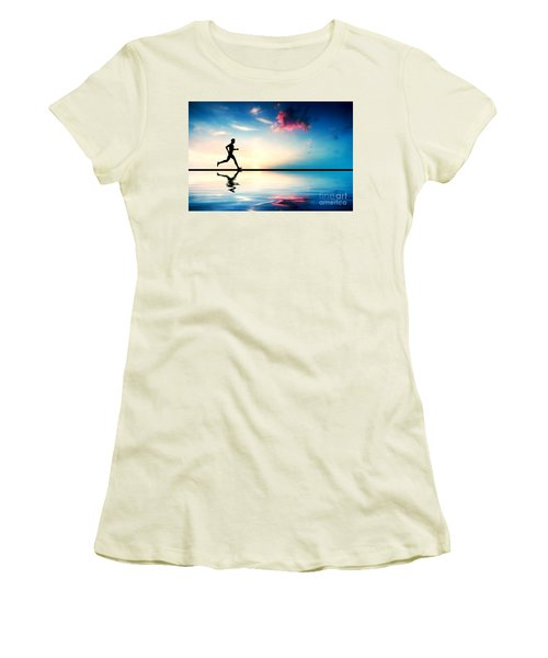 Silhouette Of Man Running At Sunset Women's T-Shirt (Athletic Fit)