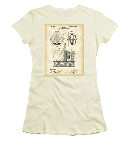 Tesla Electric Circuit Controller Patent 1897 - Vintage Women's T-Shirt (Athletic Fit)
