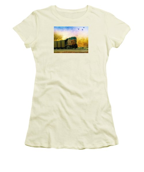 Union Pacific Coal Train Women's T-Shirt (Junior Cut) by Janette Boyd