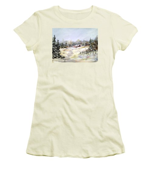 Winter At The Farm Women's T-Shirt (Junior Cut) by Dorothy Maier