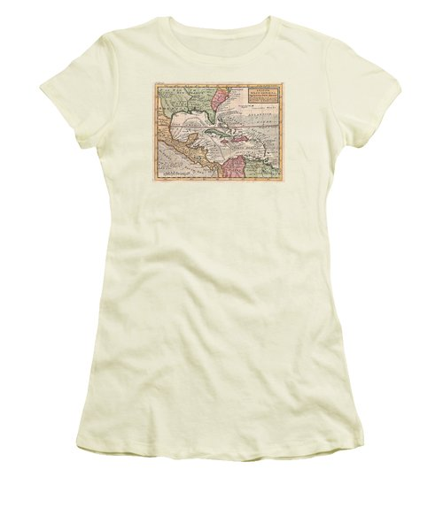 1732 Herman Moll Map Of The West Indies And Caribbean Women's T-Shirt (Junior Cut) by Paul Fearn
