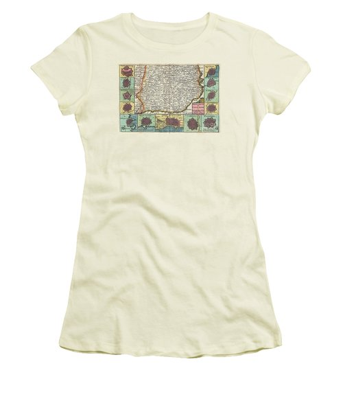 1747 La Feuille Map Of Catalonia Spain Women's T-Shirt (Athletic Fit)