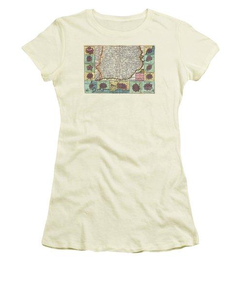 1747 La Feuille Map Of Catalonia Spain Women's T-Shirt (Junior Cut) by Paul Fearn