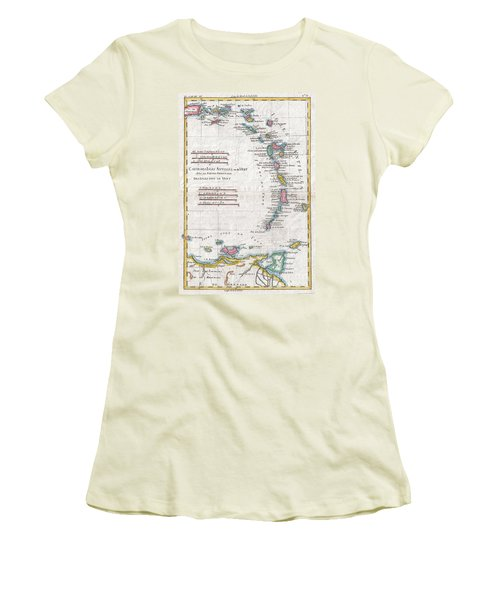 1780 Raynal And Bonne Map Of Antilles Islands Women's T-Shirt (Athletic Fit)