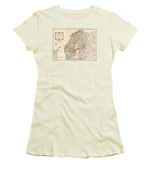 1794 Laurie And Whittle Map Of Norway Sweden Denmark And Finland Women's T-Shirt (Junior Cut) by Paul Fearn
