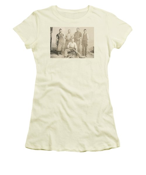 1800's Vintage Photo Of Blacksmiths Women's T-Shirt (Athletic Fit)