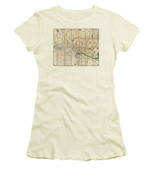 1849 Japanese Map Of Edo Or Tokyo Women's T-Shirt (Junior Cut) by Paul Fearn