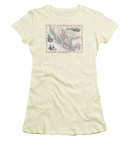 1851 Tallis Map Of Mexico Texas And California  Women's T-Shirt (Junior Cut) by Paul Fearn