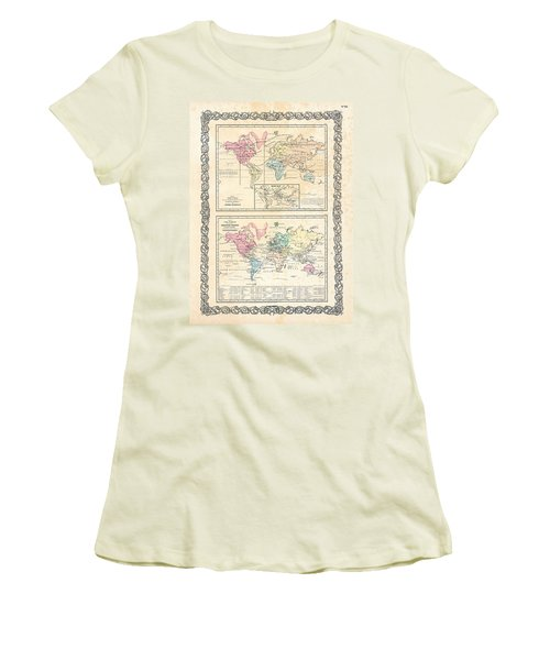 Women's T-Shirt (Junior Cut) featuring the photograph 1855 Antique First Plate Ortelius World Map Animal Kingdom World Commerce And Navigation by Karon Melillo DeVega