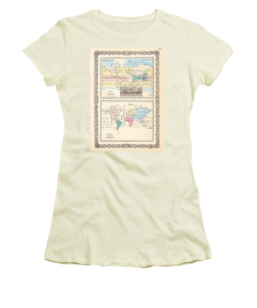 Women's T-Shirt (Junior Cut) featuring the photograph 1855 Antique World Maps Illustrating Principal Features Of Meteorology Rain And Principal Plants by Karon Melillo DeVega