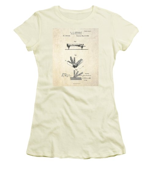1878 Steinway Grand Piano Forte Patent Art S.2 Women's T-Shirt (Athletic Fit)