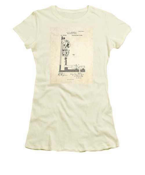 1878 Steinway Piano Forte Action Patent Art  Women's T-Shirt (Junior Cut) by Gary Bodnar