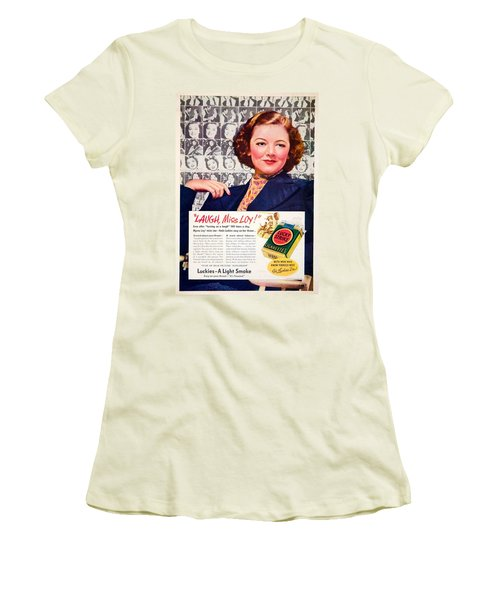 1938 - Lucky Strike Cigarettes Advertising - Myrna Loy - Color Women's T-Shirt (Athletic Fit)