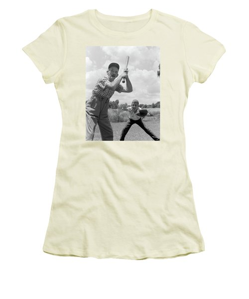 1950s Grandfather At Bat With Grandson Women's T-Shirt (Athletic Fit)
