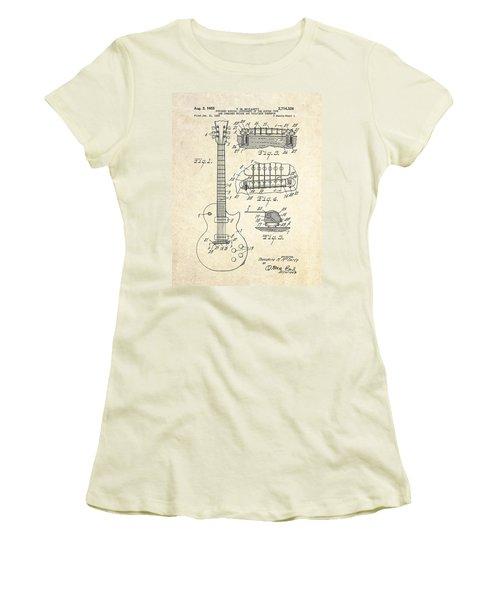 1955 Gibson Les Paul Patent Drawing Women's T-Shirt (Junior Cut)