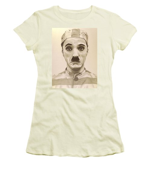 Vintage Charlie Chaplin Women's T-Shirt (Junior Cut) by Fred Larucci