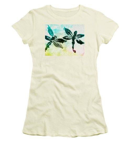 Women's T-Shirt (Junior Cut) featuring the digital art 2 Dragonflies Abstract by Frank Bright