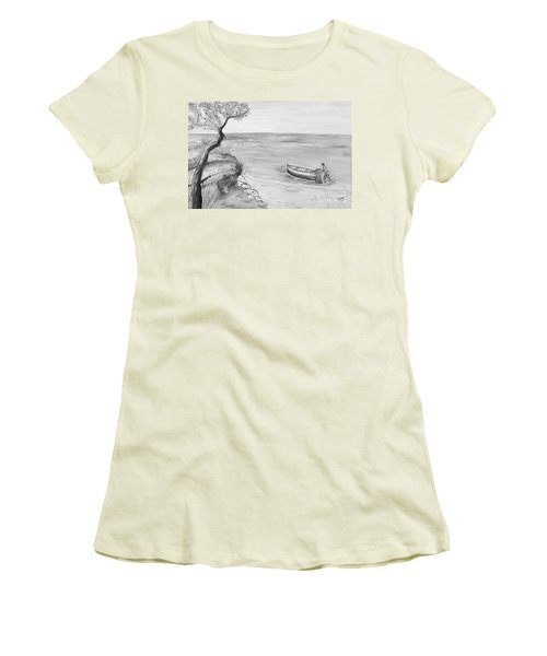 Women's T-Shirt (Junior Cut) featuring the painting Il Pescatore Solitario by Loredana Messina