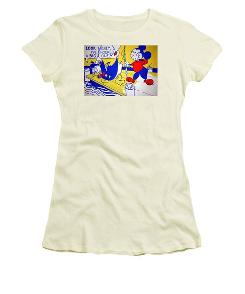 Lichtenstein's Look Mickey Women's T-Shirt (Junior Cut) by Cora Wandel