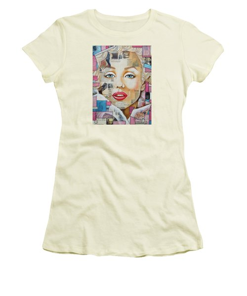 Marilyn In Pink And Blue Women's T-Shirt (Athletic Fit)