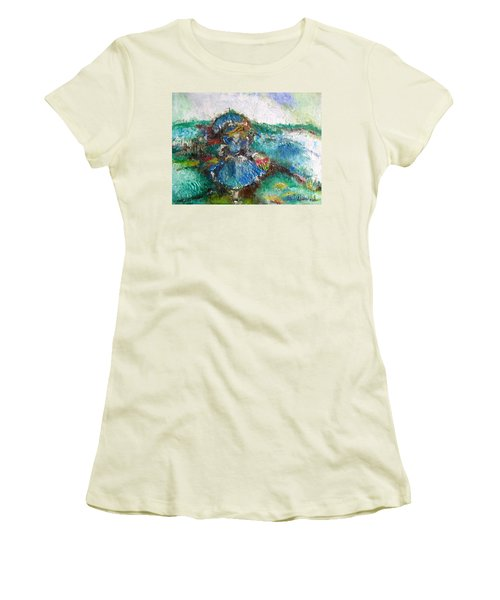 Women's T-Shirt (Athletic Fit) featuring the painting Roses For My Mother by Laurie L