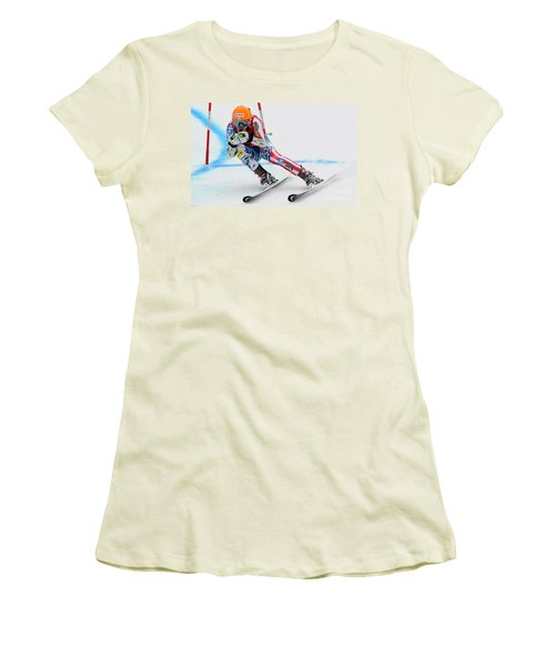 Ted Ligety Skiing  Women's T-Shirt (Junior Cut) by Lanjee Chee