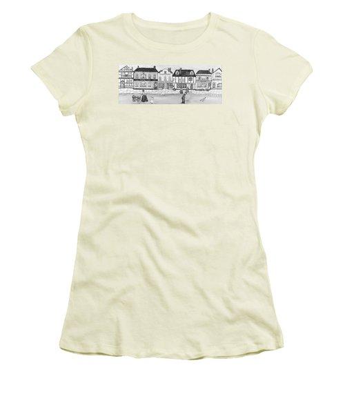 Women's T-Shirt (Junior Cut) featuring the painting Villaggio Antico by Loredana Messina