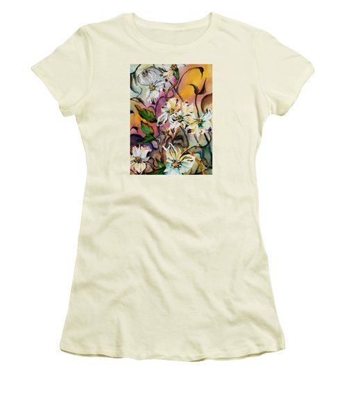 Dance Of The Dogwoods Women's T-Shirt (Junior Cut) by Lil Taylor