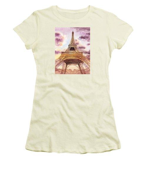 Women's T-Shirt (Athletic Fit) featuring the painting Eiffel Tower Paris France by Irina Sztukowski