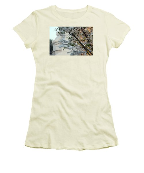 Women's T-Shirt (Junior Cut) featuring the photograph A Cherry Blossomed Martin Luther King by Cora Wandel
