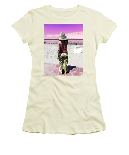 A Day At The Beach Women's T-Shirt (Junior Cut) by Anne Mott