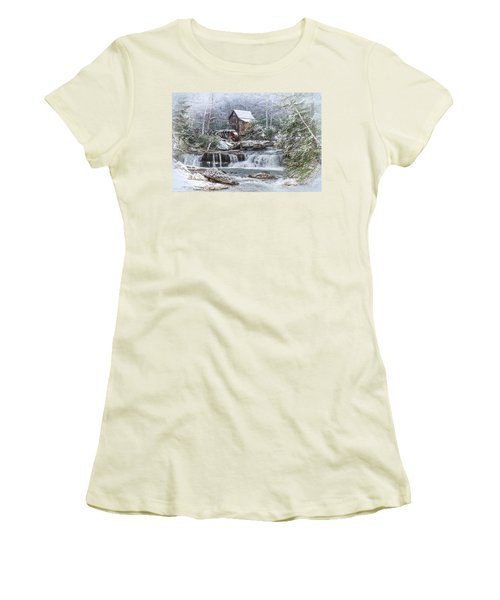 A Gristmill Christmas Women's T-Shirt (Junior Cut) by Mary Almond