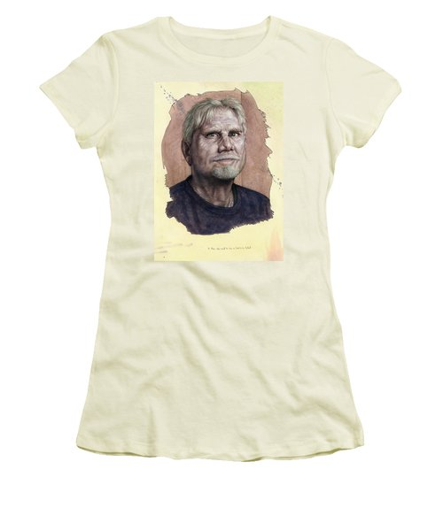 Women's T-Shirt (Junior Cut) featuring the painting A Man Who Used To Be A Serious Artist by James W Johnson