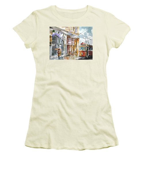Women's T-Shirt (Junior Cut) featuring the painting A Rainy Day In Istanbul by Faruk Koksal