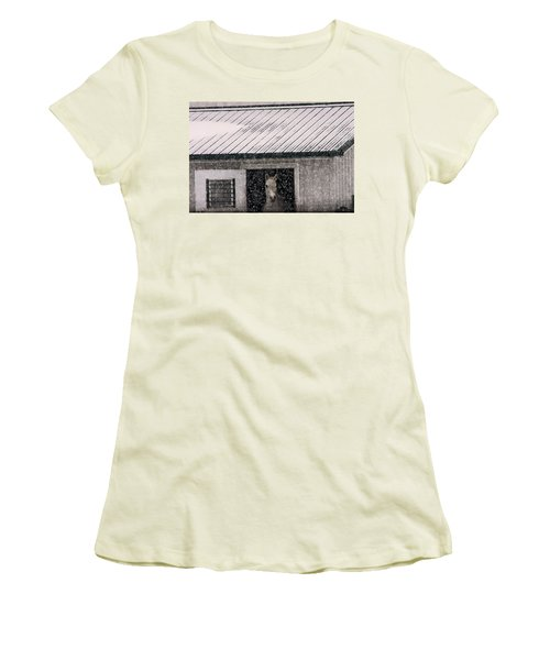 Women's T-Shirt (Junior Cut) featuring the photograph A Snowfall At The Stable by Bruce Patrick Smith