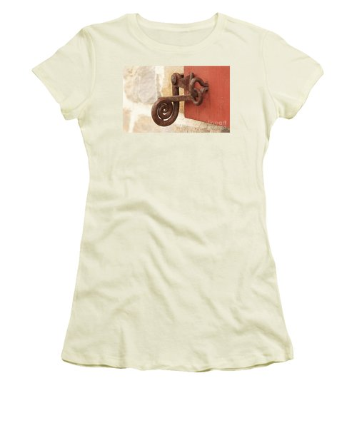 A Window Latch Women's T-Shirt (Junior Cut) by Kerri Mortenson