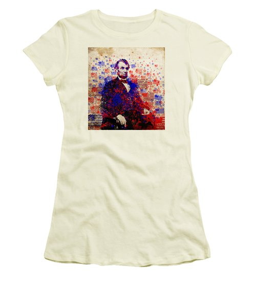 Abraham Lincoln With Flags Women's T-Shirt (Athletic Fit)