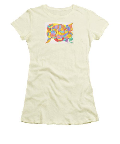 Women's T-Shirt (Junior Cut) featuring the painting Faces And Places by Stormm Bradshaw