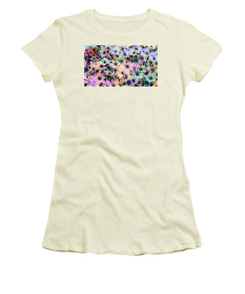Abstract Colored Flowers Women's T-Shirt (Junior Cut) by Susan Stone