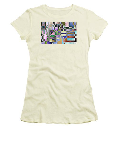 Women's T-Shirt (Junior Cut) featuring the painting Abstract In Lavender by Curtiss Shaffer