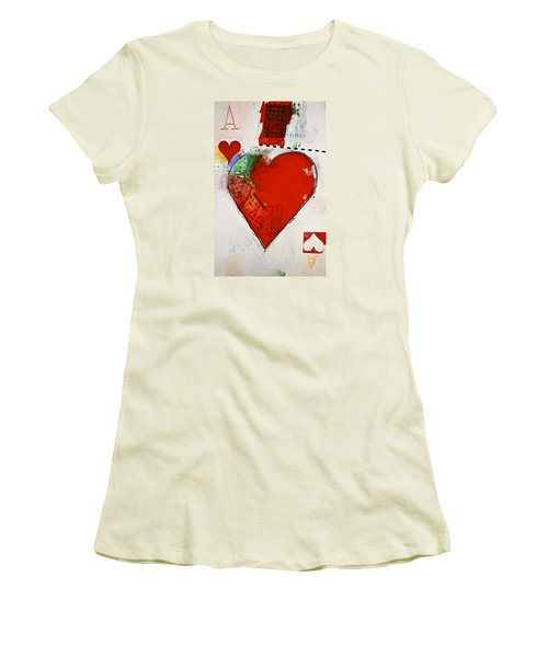 Women's T-Shirt (Junior Cut) featuring the painting Ace Of Hearts 8-52 by Cliff Spohn