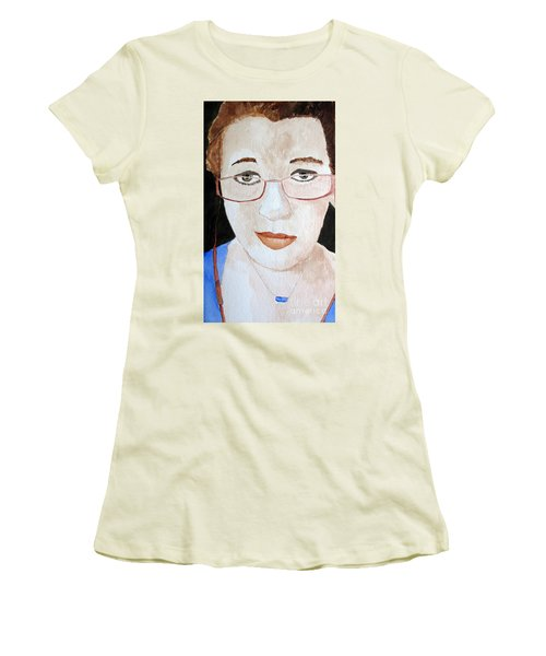Women's T-Shirt (Junior Cut) featuring the painting Addie Two by Sandy McIntire