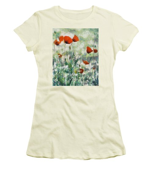 Women's T-Shirt (Junior Cut) featuring the painting Affection by Joe Misrasi