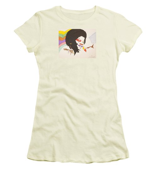 Women's T-Shirt (Junior Cut) featuring the painting Afro Michael Jackson by Stormm Bradshaw