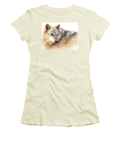 Alaskan Gray Wolf Women's T-Shirt (Junior Cut) by Bonnie Rinier