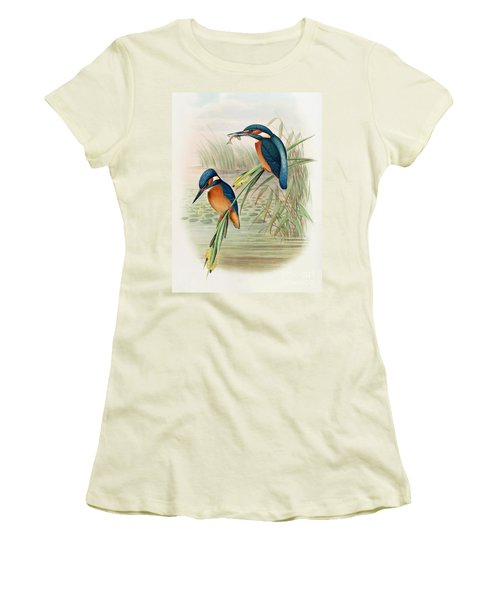 Alcedo Ispida Plate From The Birds Of Great Britain By John Gould Women's T-Shirt (Junior Cut) by John Gould William Hart