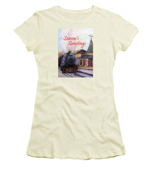 All Aboard At The New Hope Train Station Card Women's T-Shirt (Junior Cut) by Loretta Luglio