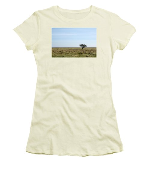 Women's T-Shirt (Junior Cut) featuring the photograph Alone Tree At A Coastal Grassland by Kennerth and Birgitta Kullman