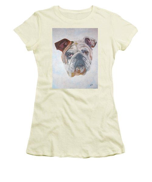 Women's T-Shirt (Junior Cut) featuring the painting American Bulldog Pet Portrait by Tracey Harrington-Simpson